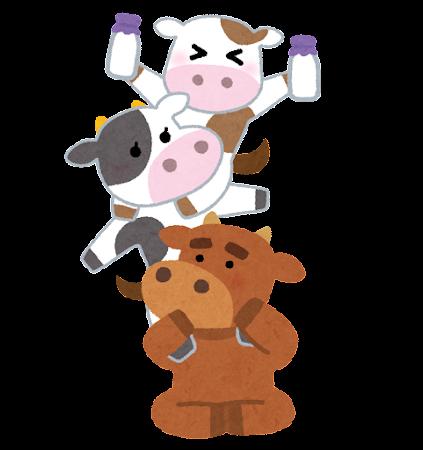 肩車をする牛の家族のイラスト(丑年)