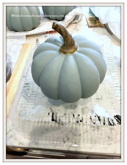 Chalk-Like-Painted- Pumpkins-Smokey Mountain Gray-From My Front Porch To Yours