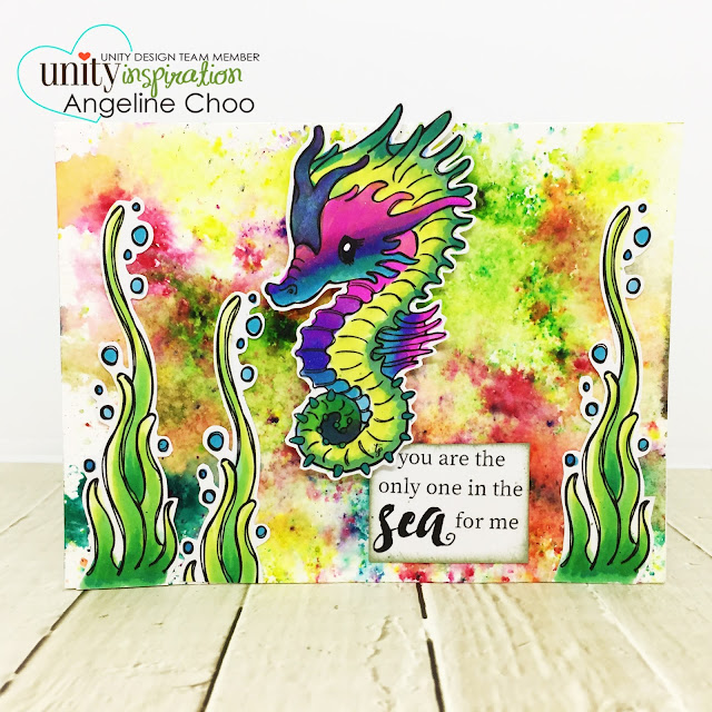 ScrappyScrappy: April Unity Stamp Blog Hop - Cuddlebug Seahorse #scrappyscrappy #unitystampco #cuddlebug #youtube #quicktipvideo #video #card #cardmaking #papercraft #stamp #stamping #kenoliver #colorburst #cuddlebugseahorse #seahorse #underthesea #copicmarkers #winkofstella