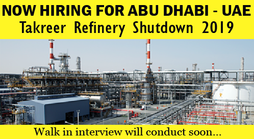 Shutdown Jobs in Abu Dhabi Oil Refining Company (TAKREER) - Apply