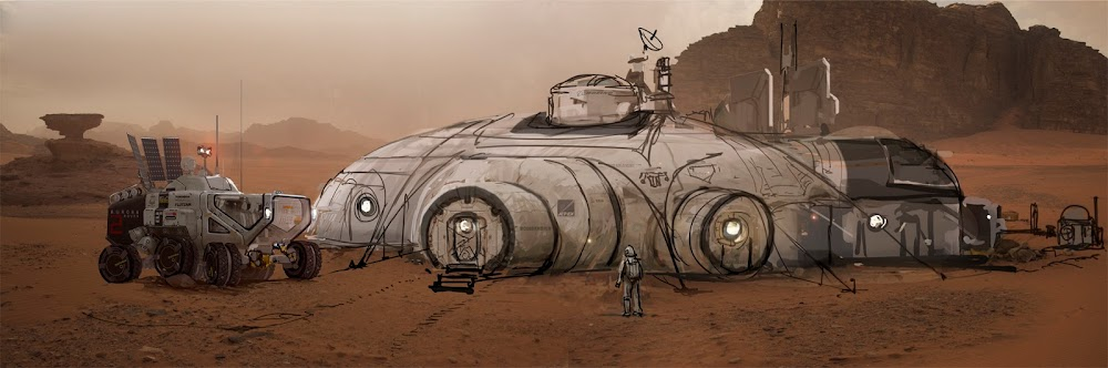 Mars base painting by Romek Delimata