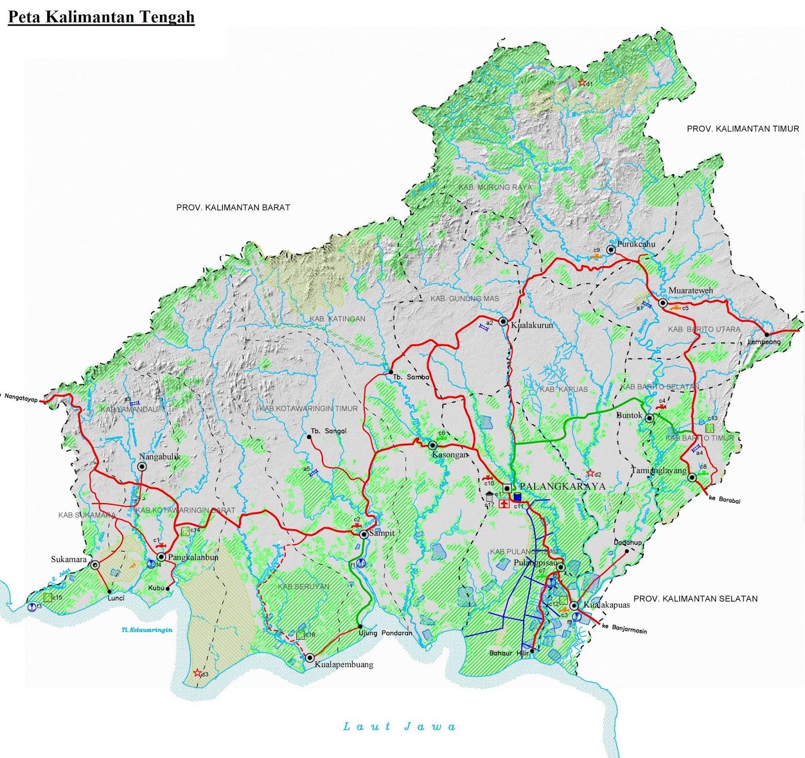 Peta Kalimantan Tengah HD