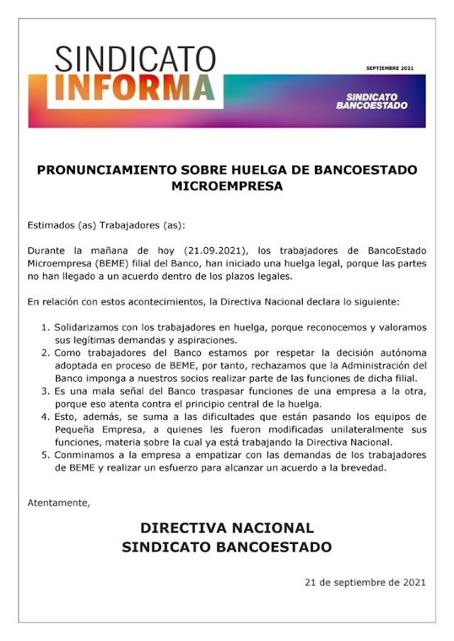 Trabajadores de BancoEstado Microempresa iniciaron huelga legal
