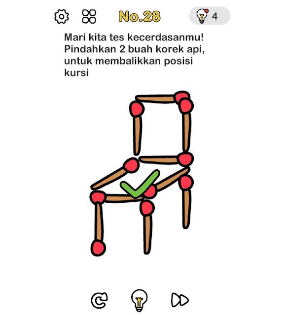 Mari kita tes kecerdasanmu! Pindahkan dua buah korek api, untuk membalikkan posisi kursi.