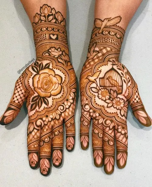 Double-hand-flowers-with-birds-henna-pattern