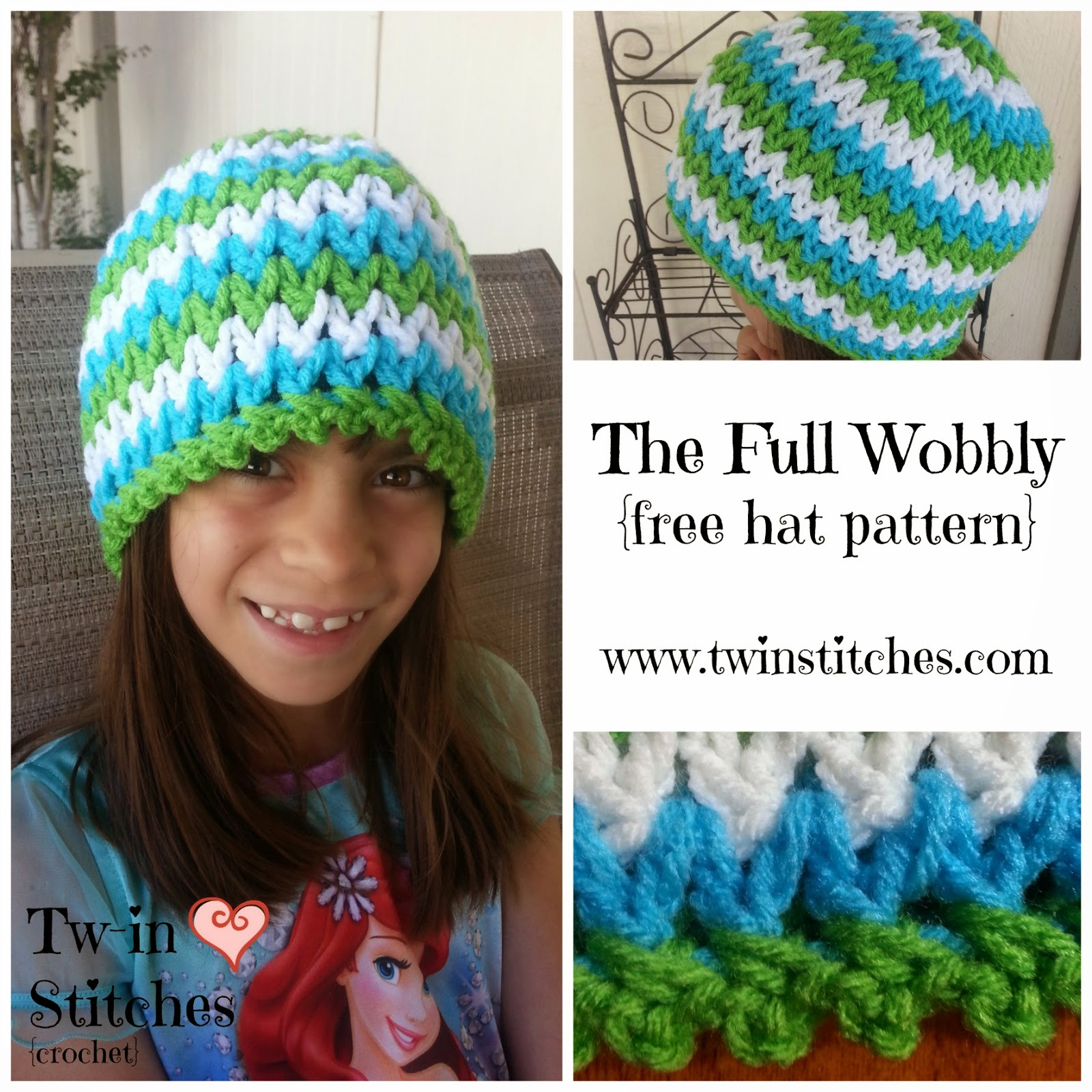 Tw-In Stitches  The Fully Wobbly - Free Hat Pattern  d343f7df3ad