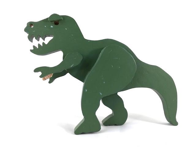 Handmade Wooden Toy Dinosaurs T-Rex Tyrannosaurus Rex Green