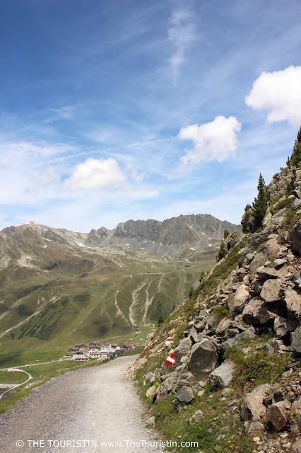 Village of Kühtai in Austria as seen from the Finstertaler reservoir.