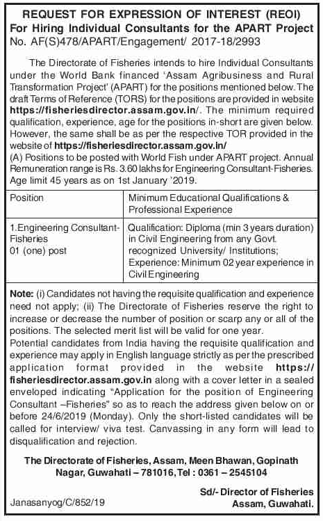 Directorate of Fisheries Recruitment 2019 - Apply 6 Posts on