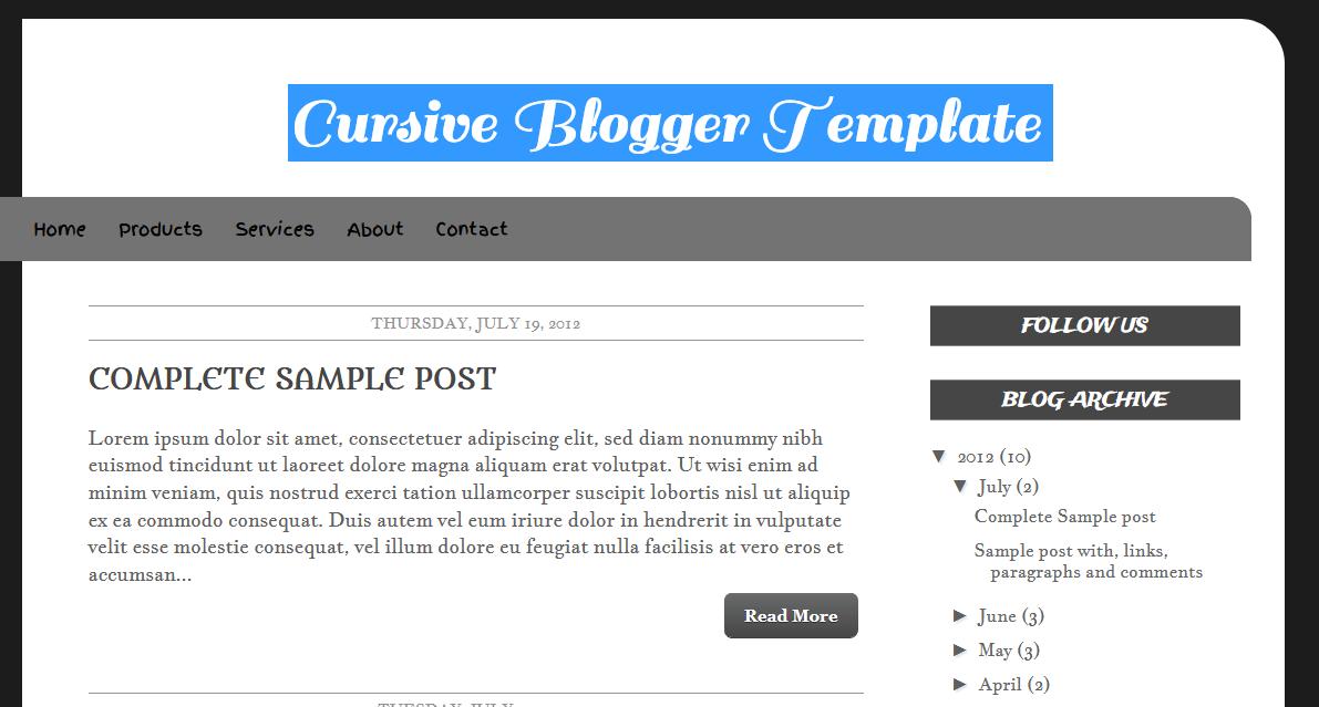 Cursive Blogger Template