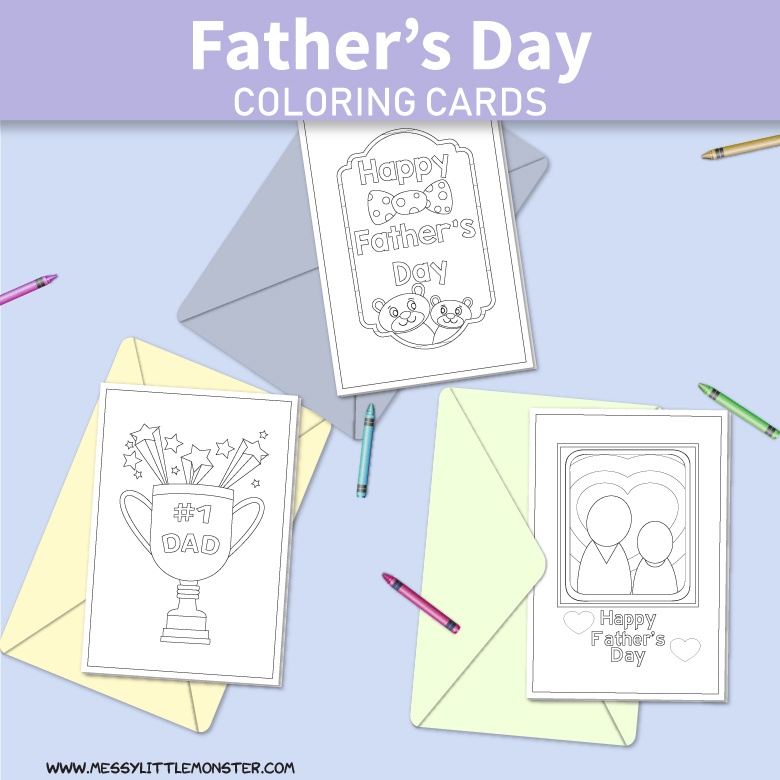 photograph about Father's Day Printable called Printable Fathers Working day Playing cards towards Colour - Messy Small Monster