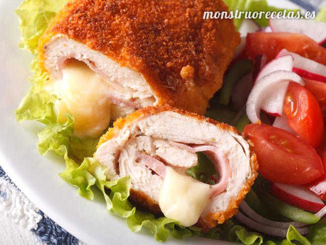 Pechuga de pollo rellena de jamón y queso (Cordon Bleu)