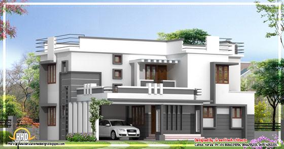 Contemporary 2 story Kerala home design - 2400 Sq. Ft.