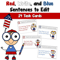Red Write and Blue Sentences Task Cards