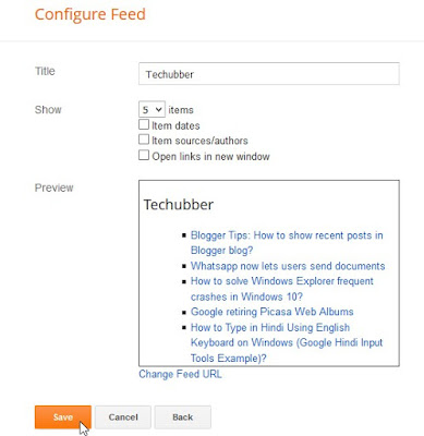 configure feed widget post dates items