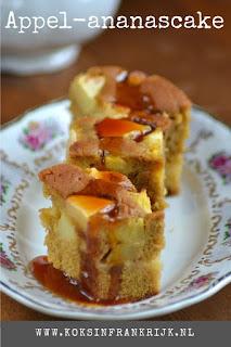 Cake met appel, ananas en karamel