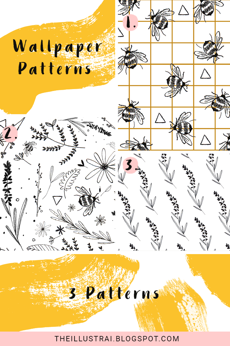 Download the three different Bee and botanical themed wallpaper patterns
