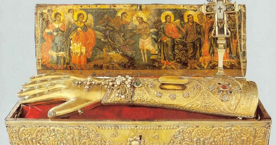 Image result for Creştinii care erau în Antiohia, auzind despre venirea lui, au ascuns în taină sfînta mînă a Botezătorului, într-un stîlp oarecare al cetăţii, care se numea Gonia, ca astfel să nu fie necinstită şi arsă de chinuitori.