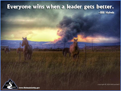 Everyone wins when a leader gets better. - Bill Hybels  (Horses in a field with wildfire in the background)