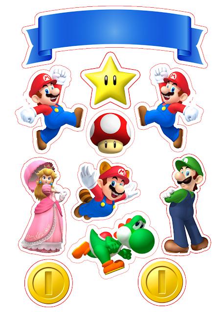 Fiesta de Super Mario Bros Toppers para Tartas, Tortas, Pasteles, Bizcochos o Cakes para Imprimir Gratis.