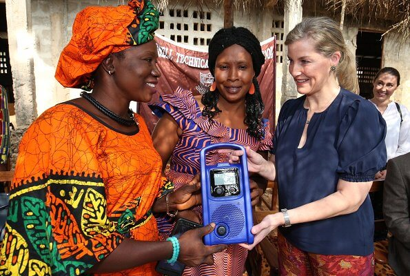 The Countess of Wessex visited Russell Technical School in Sierra Leone and visited Tombo Health Clinic. floral print trousers
