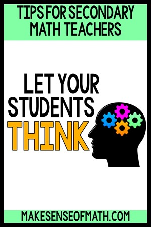 Tips for secondary math teachers. Let your students think. Head clipart with gears in brain space.