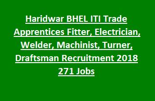 Uttarakhand Haridwar BHEL ITI Trade Apprentices Fitter, Electrician, Welder, Machinist, Turner, Draftsman Recruitment 2018 271 Govt Jobs