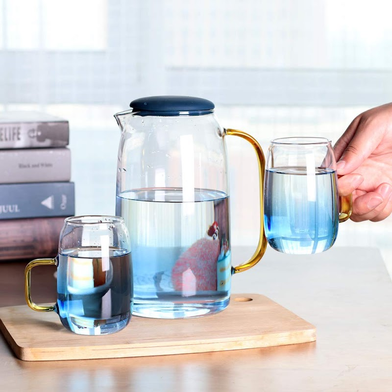 1.4 Liter Glass Water Pitcher with 2 Cups