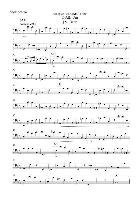 Aria Nº 3 de Bach (Suite) Partitura de Violonchelo en Clave de Fa Sirve para Trombón, Fagot, Bombardino... Sheet Music for Cello Trombone Baassoon Euphonium... in Bass Clef