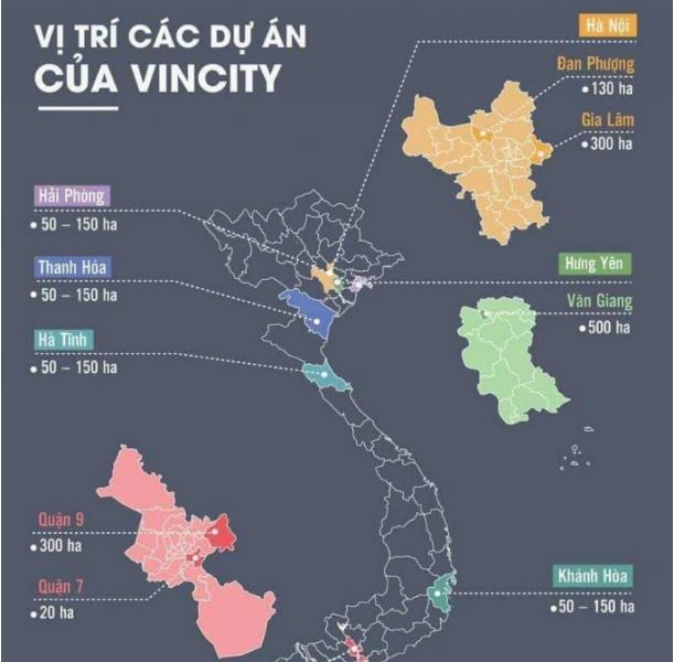Các vị trí của dự án VinCity từ tập đoàn VinGroup