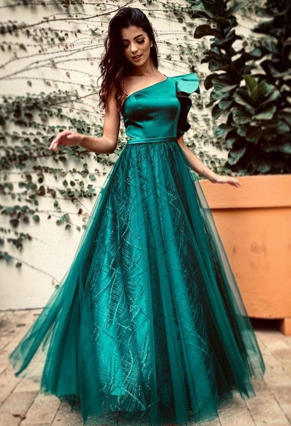 vestido de festa longo verde  para madrinha de casamento