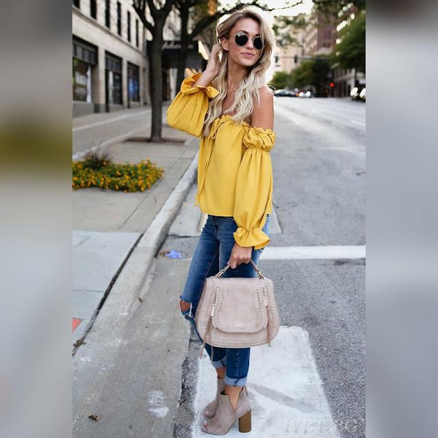 Μακρυμάνικη   κίτρινη γυναικεία μπλούζα RUENA YELLOW