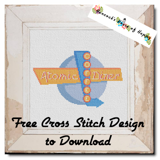 retro vintage diner sign free cross stitch pattern to download