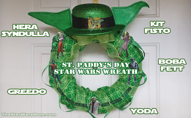 Star Wars St. Paddy's Day Yoda Hat Wreath - St. Patrick's Day with Boba Fett, Hera Syndulla, Kit Fisto, and Greedo