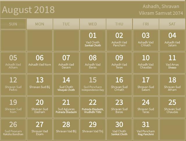 August 2018 Hindu Calendar with Tithi