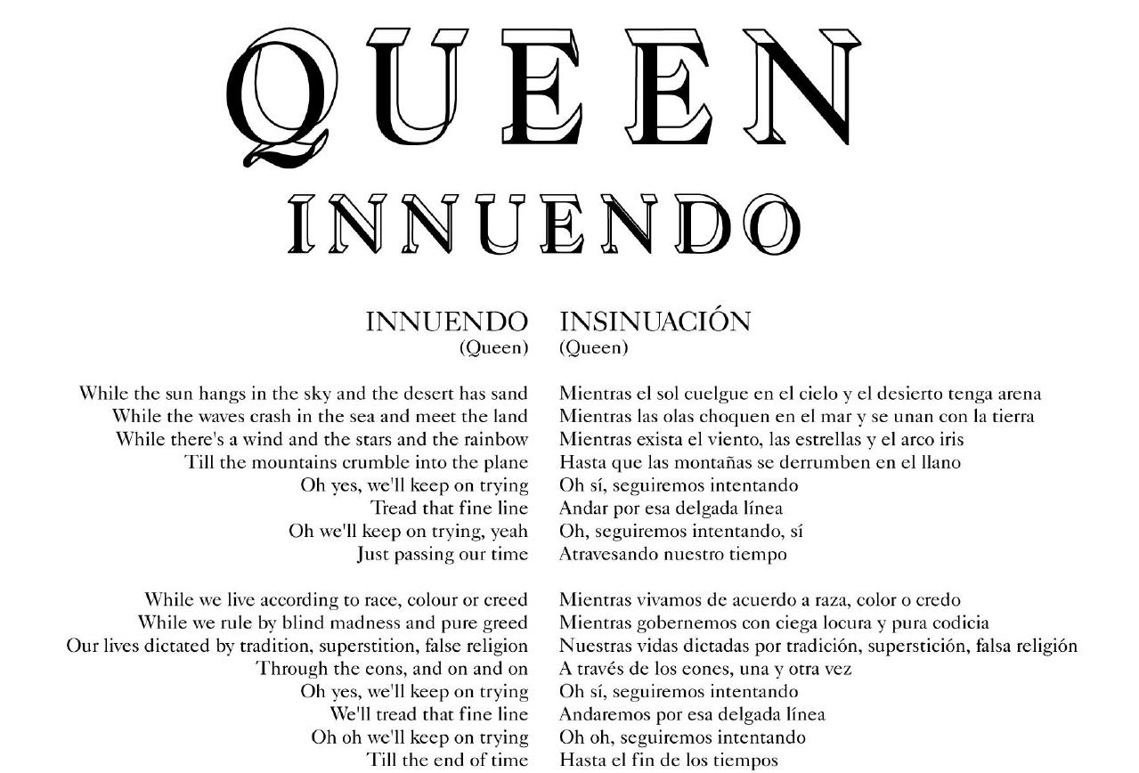 Letras Traducidas - Innuendo