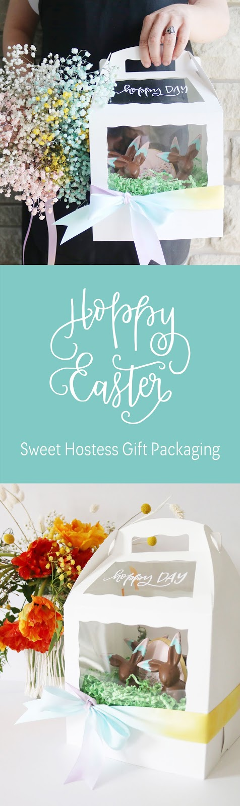 Oh hoppy day! Sweet hostess gift wrapping inspiration using cake pop boxes and hand lettering | Creative Bag