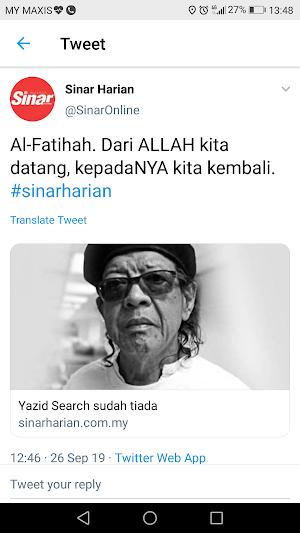 Sedih : Yazid Search sah meninggal dunia