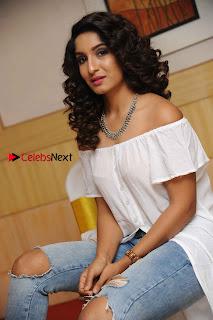 Kannada Model Actress Krishi Thapanda Stills in Ripped Jeans at Eradu Kanasu Movie Press Meet  0008.jpg