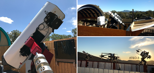 "Insight Observatory's remote Astronomical Telescopes for Educational Outreach (ATEO) that capture deep-sky image sets for Starbase, Insight Observatory's Image Set Repository. ATEO-1: 16"" f/3.7 astrograph reflector (left), ATEO-2A: 5"" f/5.8 Williams Optics APO refractor (upper right), and ATEO-3: 12.5"" f/9 Quasar Ritchey-Chretien (lower right)."