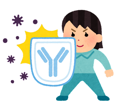 抗体で身を守る人のイラスト(女性)