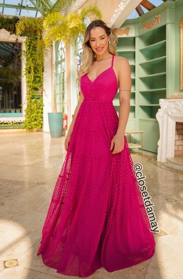 vestido longo pink estilo princesa em tule de poas