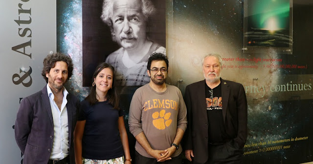 From left, Clemson's Marco Ajello, Lea Marcotulli, Abhishek Desai and Dieter Hartmann were co-authors on a newly released paper in The Astrophysical Journal. Image Credit: College of Science