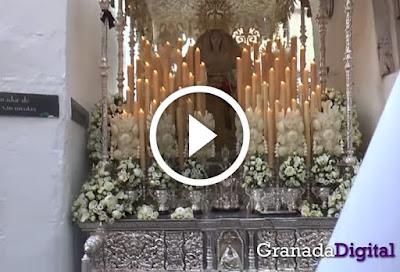 Impresionante: Misterio y palio de la Aurora en estrechez del Albayzín de Granada en la Calle Grifos de San José en la ciudad nazarí grabado por Granada Digital