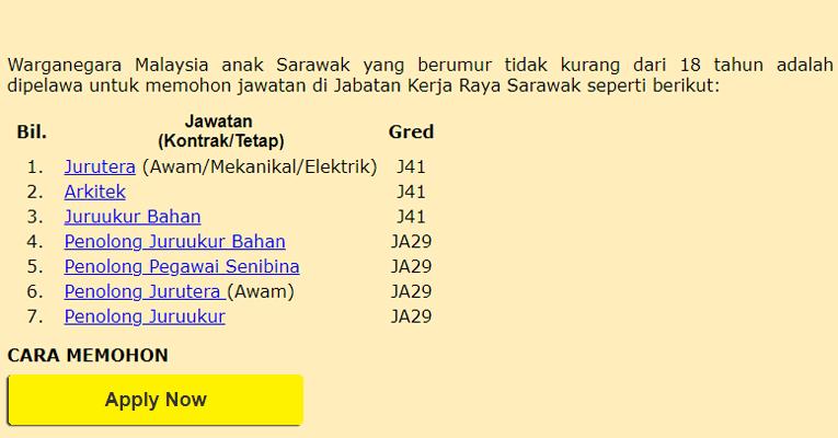 Jawatan Kosong di Jabatan Kerja Raya Sarawak