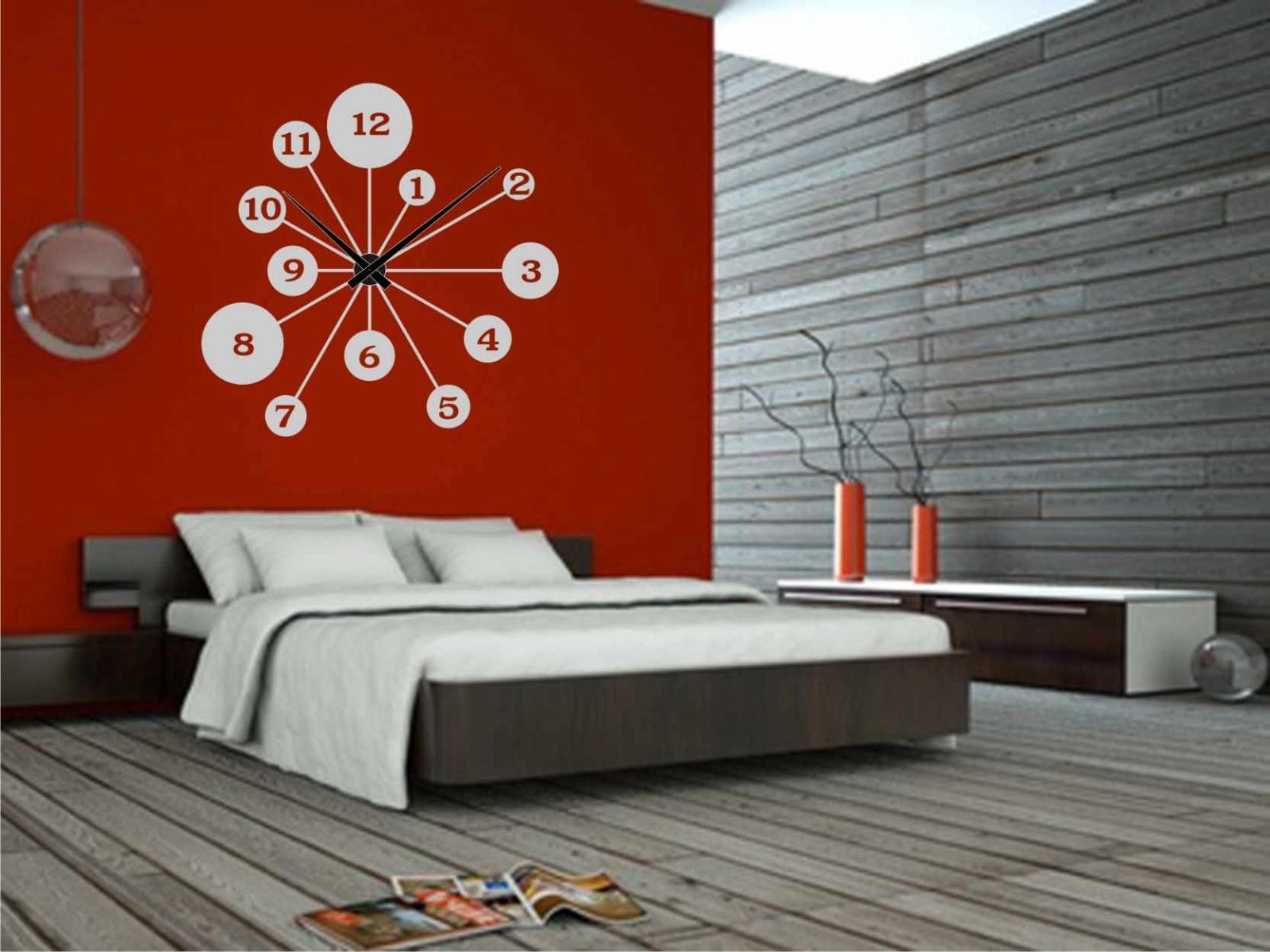 Relojesyvinilos decorar una pared roja con un reloj - Relojes para decorar paredes ...