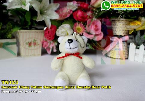 Souvenir Ulang Tahun Gantungan Kunci Boneka Bear Putih