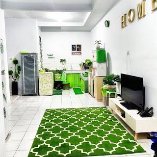contoh konsep ruang keluarga dengan nuansa hijau