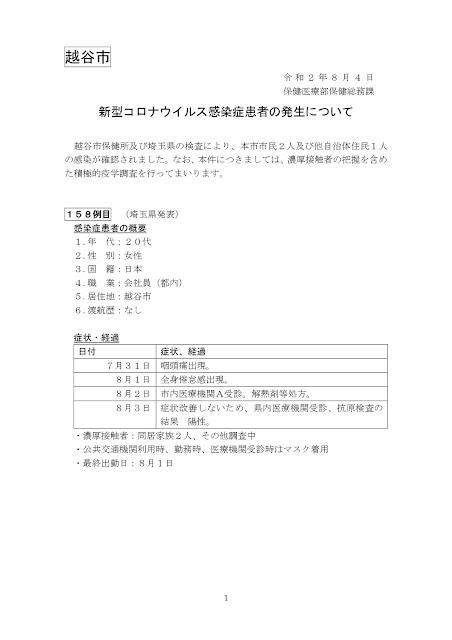 新型コロナウイルス感染症患者の発生について(8月4日発表)