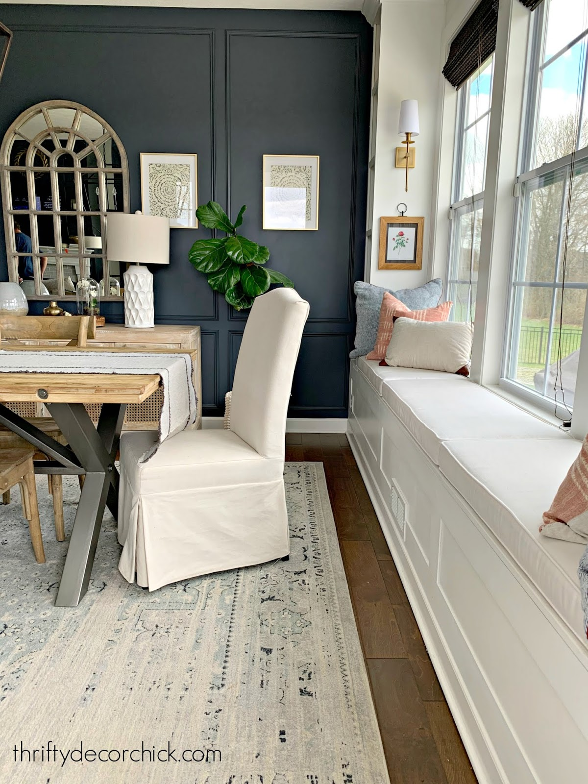 window seat with built in bookcases